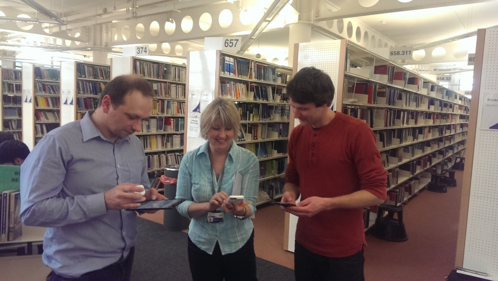 Tom (iFinity), Sharon (Librarian) and Alex (Disruptive Media Learning Technologist) programming and testing the app.
